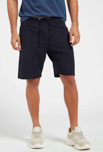 Solid Pique Shorts with Pockets and Drawstring Closure