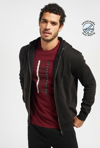 Solid Hoodie with Zip Closure and Pockets
