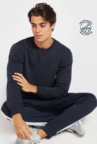 Solid Crew Neck Sweatshirt with Long Sleeves