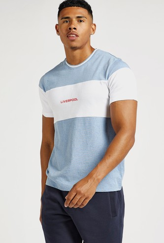 Text Embroidered Detail Cut and Sew T-shirt with Crew Neck