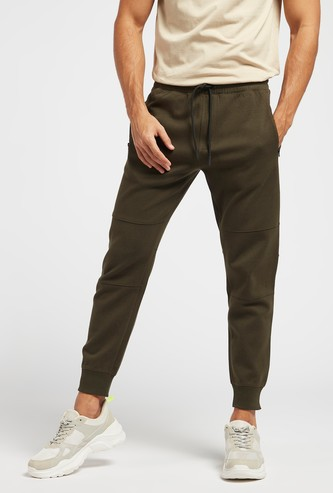 Mid-Rise Solid Jog Pants with Elasticated Waistband
