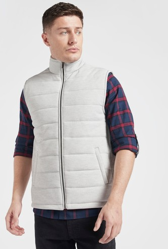 Hooded Gilet with Front-Zip Closure