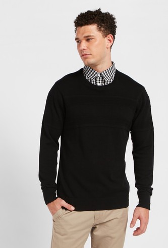 Textured Sweater with Mocked Shirt and Long Sleeves