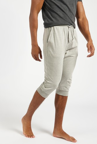 Solid Capris with Drawstring Closure and Pockets