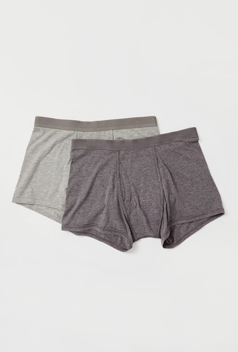 Set of 2 - Solid Trunks with Elasticated Waistband