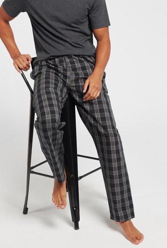 Checked Woven Lounge Pyjamas with Drawstring Closure