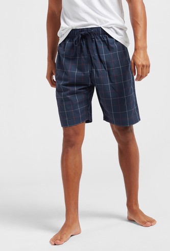 Checked Woven Lounge Shorts with Drawstring Closure and Pockets