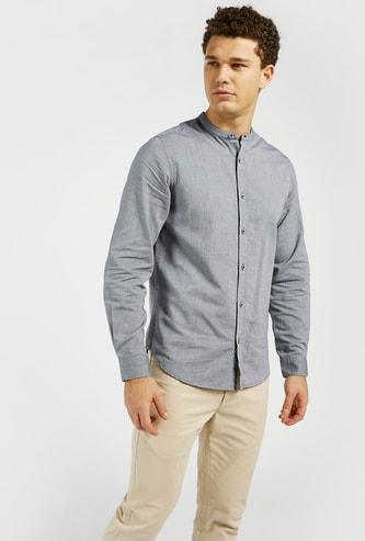 قميص أكسفورد سادة بياقة ماندارين وأكمام طويلة