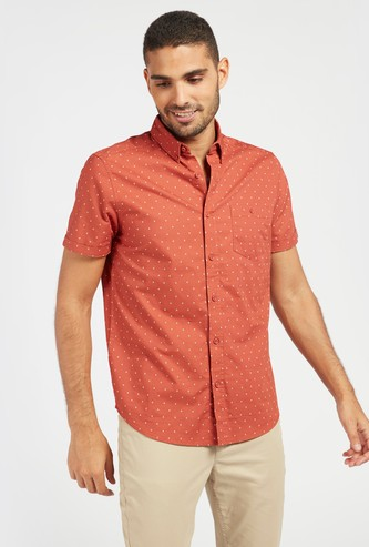 All-Over Print Shirt with Button-Down Collar and Short Sleeves