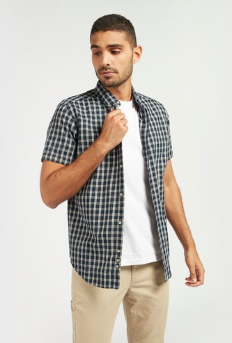 Checked Shirt with Button-Down Collar and Short Sleeves