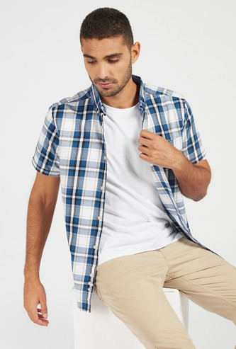 Checked Shirt with Short Sleeves and Button Closure