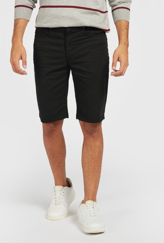 Solid Mid-Rise Shorts with Pockets and Zip Closure