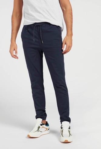 Solid Slim Fit Joggers with Drawstring Closure and Pockets