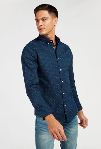 All-Over Printed Oxford Shirt with Long Sleeves and Button-Down Collar