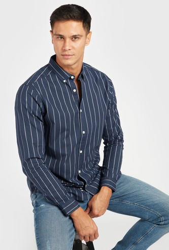 Striped Oxford Shirt with Long Sleeves and Button-Down Collar