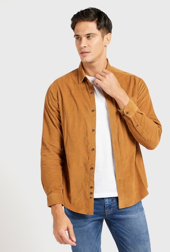 Textured Corduroy Shirt with Long Sleeves and Patch Pocket