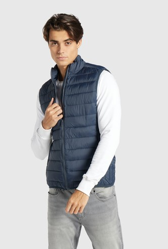 Solid Puffer Jacket with Zip Closure