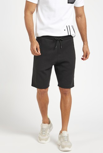 Solid Slim Fit Knitted Shorts with Drawstring Closure
