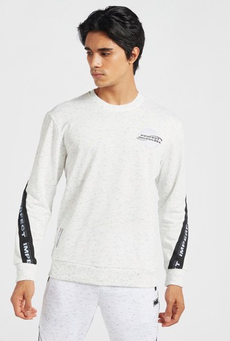 All-Over Print Oversized Sweatshirt with Long Sleeves and Tape Detail
