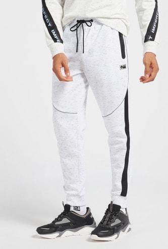 Injected Print Slim Fit Jog Pants with Drawstring Closure and Pockets