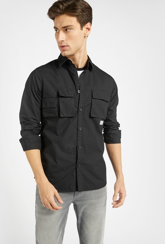 Slim Fit Solid Shirt with Long Sleeves and Pockets