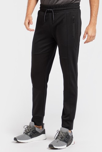 Solid Biker Detail Panelled Jog Pants with Pockets