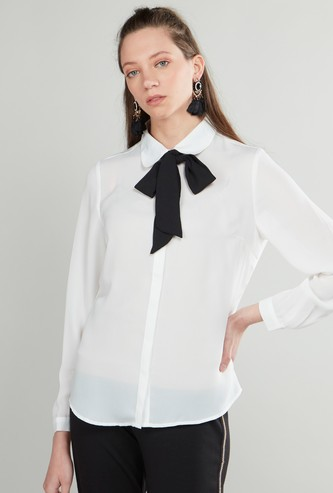Plain Shirt with Pussy Bow and Long Sleeves