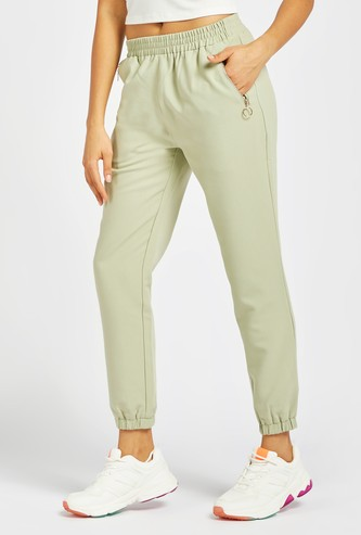 Solid Ankle-Length Jog Pants with Pockets
