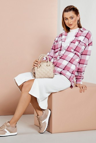 Chequered Shacket with Long Sleeves and Button Closure