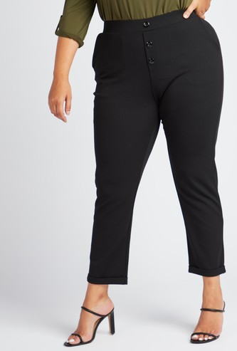 Ankle Length Solid Pants with Pockets and Button Detail