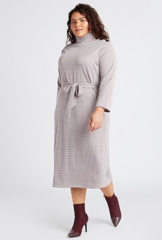 Checked High Neck A-line Midi Dress with Long Sleeves