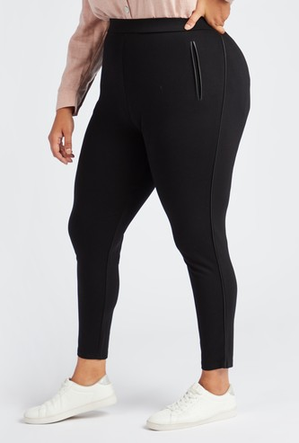Solid Ponte Leggings with Elasticised Waistband
