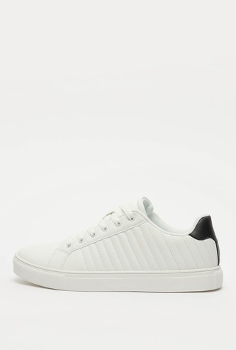 Quilt Stitched Sneakers with Lace-Up Closure
