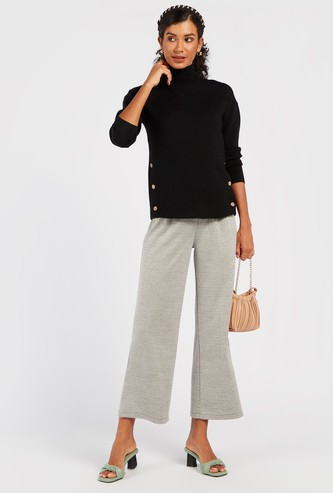 Checked Wide Leg Pants with Buttons and Pleat Detail