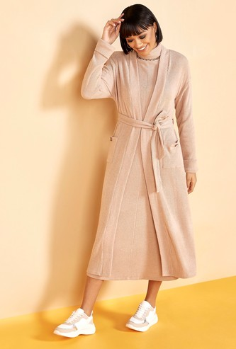 Textured Belted Longline Shrug with Long Sleeves and Pockets
