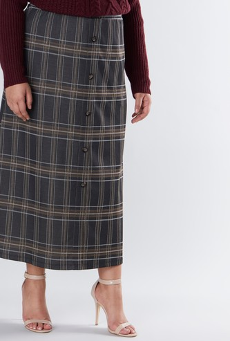 Chequered A-line Maxi Skirt with Button Detail