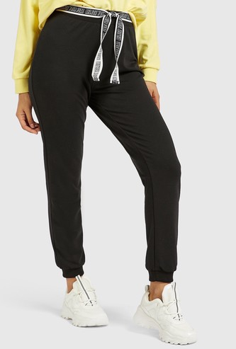 Solid Jog Pants with Text Tape Belt and Pockets
