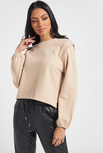 Textured High Low Ribbed Top with Power Shoulder