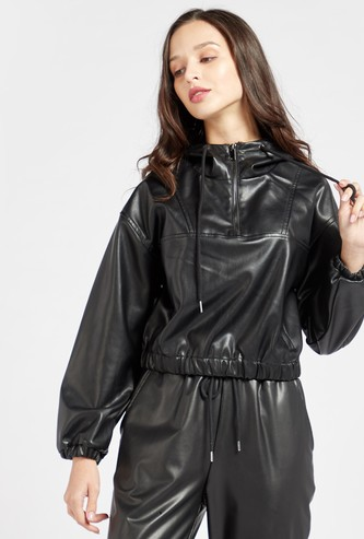 Textured Faux Leather Jacket with Long Sleeves and Hood