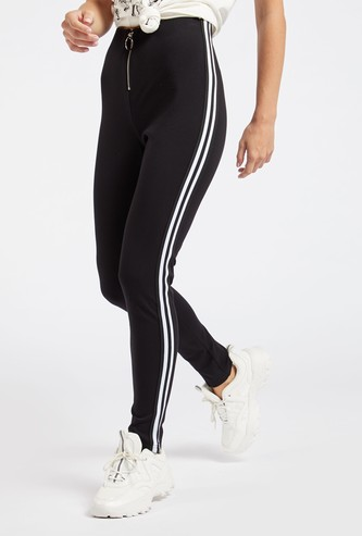 Solid High-Rise Treggings with Stripe Detail and Zip Closure