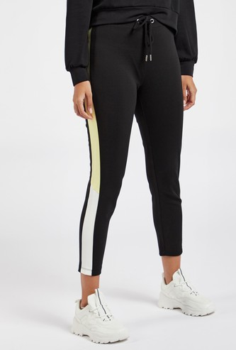 Colourblocked Cropped Ponte Leggings with Drawstring Closure