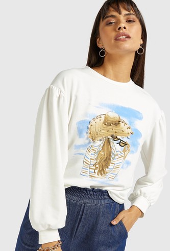 Graphic Print Embellished Sweat Top with Long Sleeves