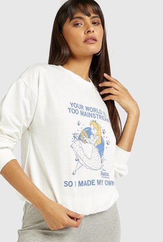 Alice in Wonderland Graphic Print Sweatshirt with Long Sleeves