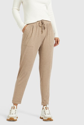 Solid Mid-Rise Trousers with Pockets and Tie-Ups