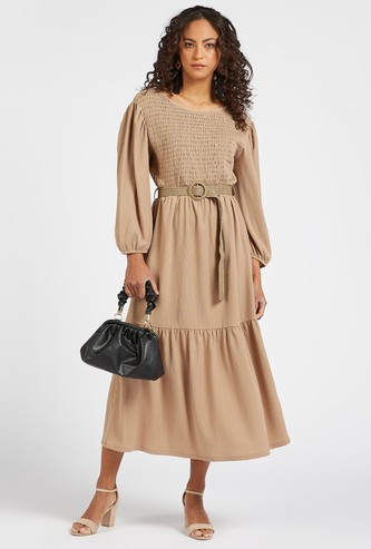 Solid Midi Tiered Dress with Long Sleeves and Belt