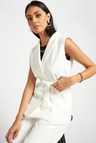 Double Breast Sleeveless Jacket with Belt