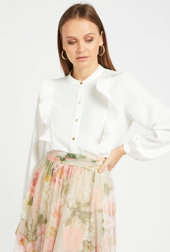 Solid Shirt with Ruffle Detail and Mandarin Collar