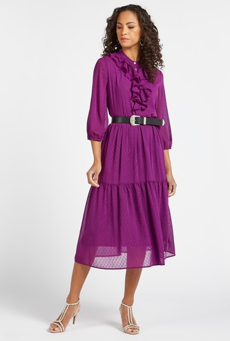 Textured Midi Tiered Dress with Bishop Sleeves and Ruffle Detail
