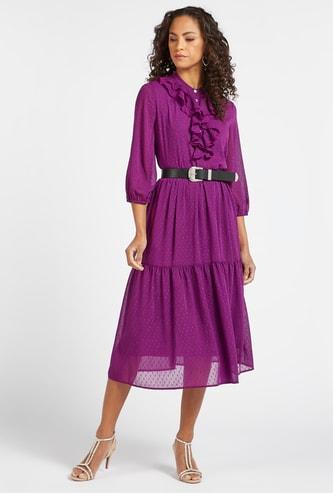 فستان ميدي بارز الملمس متعدد الطبقات بتفاصيل كشكش وأكمام بيشوب