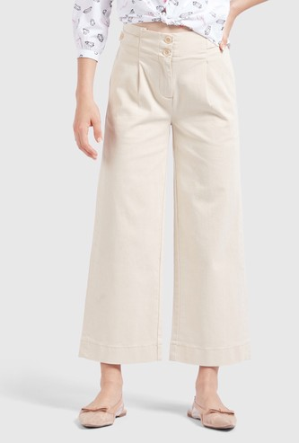 Solid Ankle Length Culottes with Button Closure